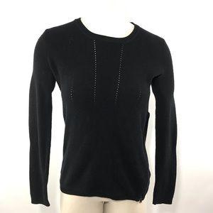 Vince Sweater Pointelle Long Sleeve Rib Side Zip